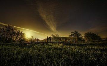 закат, люди, мост