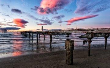 the sky, clouds, sunset, sea, bridge, ship, pier