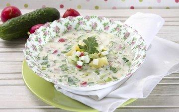 зелень, тарелка, огурец, редис, окрошка