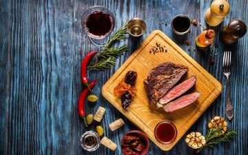 зелень, вино, мясо, чили, соус, специи