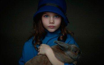 дети, девочка, волосы, лицо, кролик, животное, шляпка
