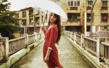 девушка, брюнетка, мост, дождь, зонт, азиатка