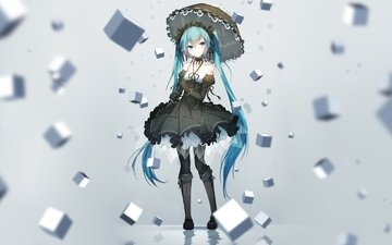 art, girl, anime, cubes, vocaloid, umbrella, hatsune miku