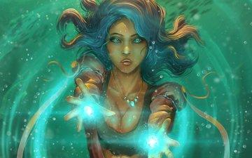 арт, девушка, фантастика, взгляд, волосы, лицо, магия
