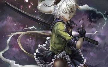 арт, девушка, меч, тохо