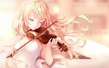art, girl, violin, anime, hair