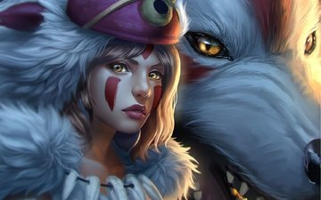 art, girl, look, anime, princess mononoke, white wolf
