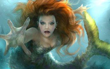 арт, вода, рука, взгляд, волосы, хвост, русалка, плавник