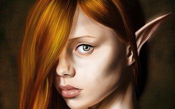 арт, взгляд, рыжая, ушки, эльфийка, фэнтази