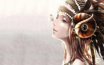 девушка, взгляд, бабочка, профиль, волосы, губы, лицо, голубые глаза, нос, фантазии