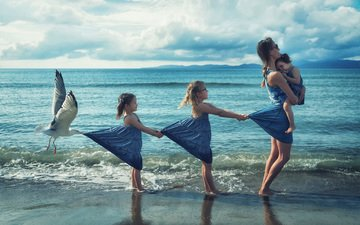 shore, children, seagull, surf, girls, mom