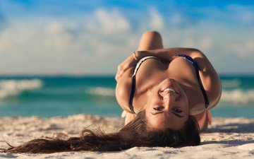 берег, девушка, пляж, брюнетка, лето, модель, inna pak