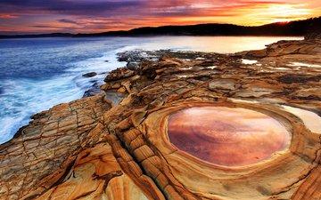 небо, природа, берег, пейзаж, море, закат солнца, побережье, австралия, тихий океан, praia de putty, горные породы