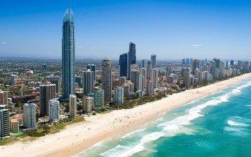 берег, волны, песок, пляж, люди, дома, здания, австралия, квинсленд