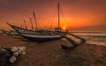 берег, закат, море, песок, лодка, сеть