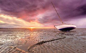 берег, закат, песок, лодка, мель
