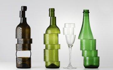 бокал, стекло, бутылки, нарезка