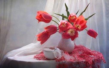 цветы, букет, тюльпаны, ваза, салфетка, натюрморт