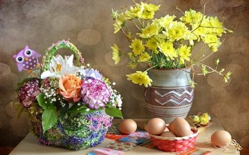 flowers, bouquet, easter, eggs, stickers