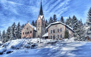 деревья, горы, снег, зима, склон, дом, церковь, франция