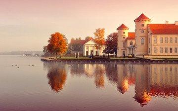 деревья, вода, отражение, люди, замок, осень, здания, германия