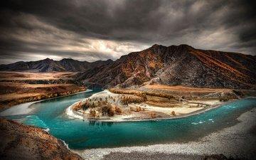 деревья, река, горы, тучи, осень