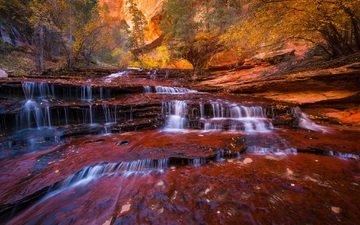 деревья, река, скалы, ручей, листва, водопад, осень, поток, каскад архангела