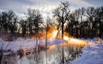 деревья, река, закат, зима, пейзаж