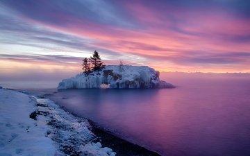 деревья, снег, закат, зима, море, остров