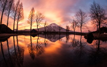 trees, the evening, lake, reflection, landscape, mountain, japan