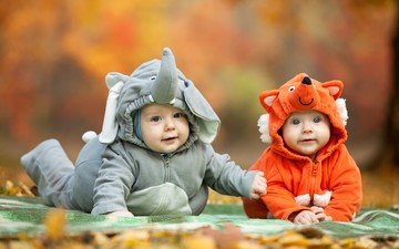 children, costumes, elephant, fox, positive, babies