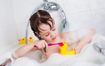 children, girl, hair, face, foam, bath, duck, toothbrush