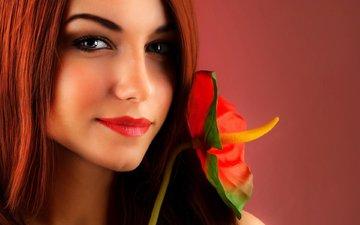 девушка, цветок, улыбка, портрет, взгляд, рыжая, волосы, губы, лицо