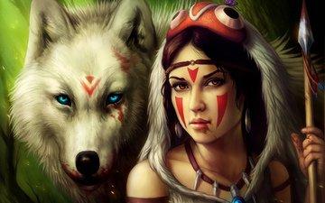 девушка, кровь, взгляд, волосы, волк, принцесса мононоке