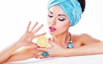 girl, model, lemon, hair, lips, face, makeup, ring, necklace