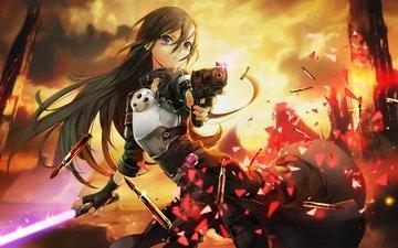 девушка, меч, пистолет, волосы, патроны, доспехи
