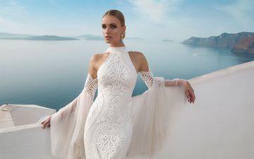 девушка, море, взгляд, волосы, белое платье, фигурка