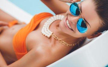 girl, mood, smile, glasses, model, teeth, swimsuit, bikini, necklace