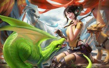 девушка, наушники, игра, драконы, рыбка, эмоции, смех, палочка, лакомство