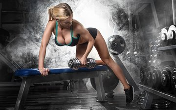 girl, legs, bench, sport, sports, figure, dumbbells