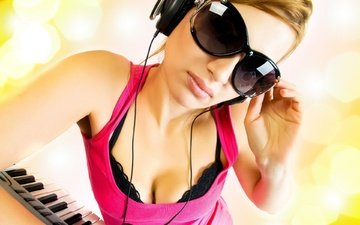 girl, reflection, music, look, glasses, headphones, hair, face