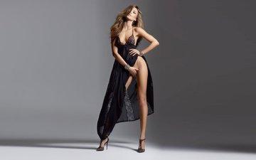 девушка, платье, красавица, фигура, туфли