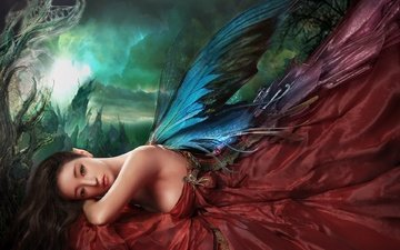girl, dress, look, wings, fairy, hair, face, bare shoulders