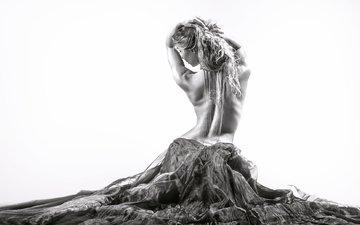 девушка, платье, чёрно-белое, танец, спина, фигура, изгиб, тело