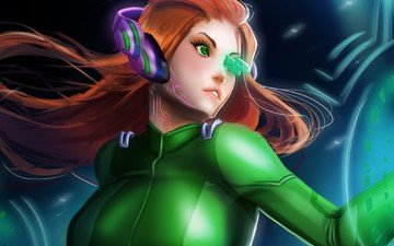 girl, red, headphones, interface, samus aran, metroid