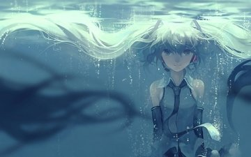 девушка, улыбка, пузыри, под водой, волосы