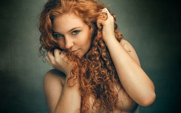 girl, freckles, beautiful, redhead, the beauty, blue-eyed, rizea