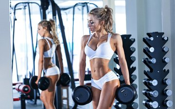 girl, mirror, figure, fitness, the gym, dumbbells