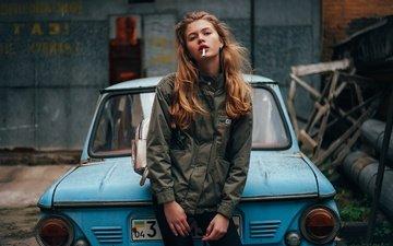 девушка, взгляд, волосы, знак, сигарета, автомобиль, куртка, запорожец, анастасия лунёва