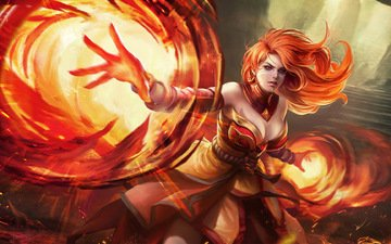 girl, game, lina, dota 2, defense of the ancients